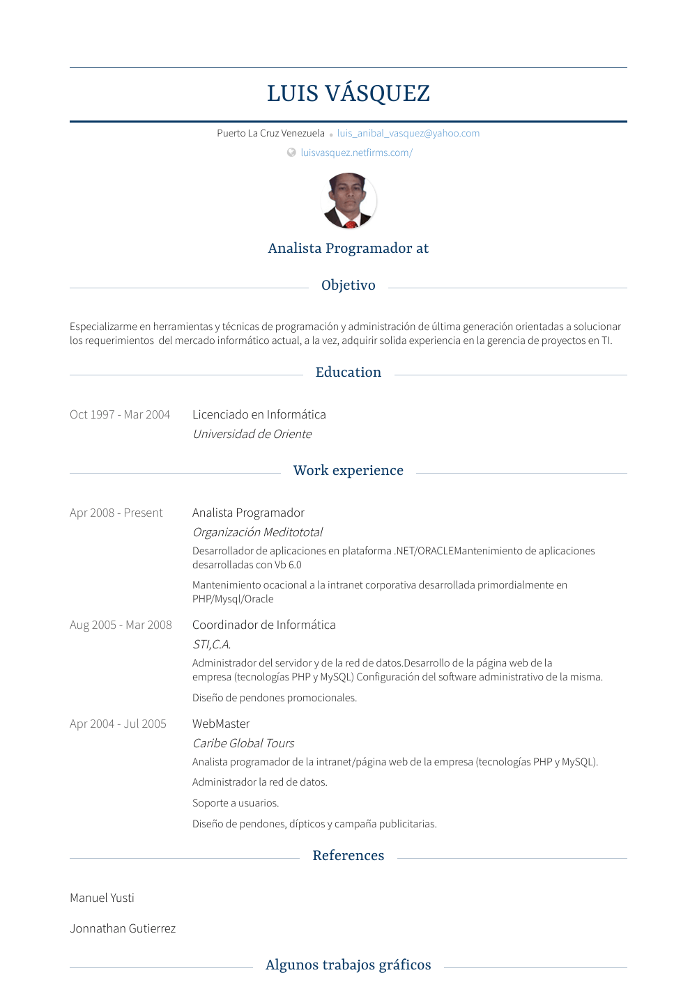 Analista Programador Resume Sample