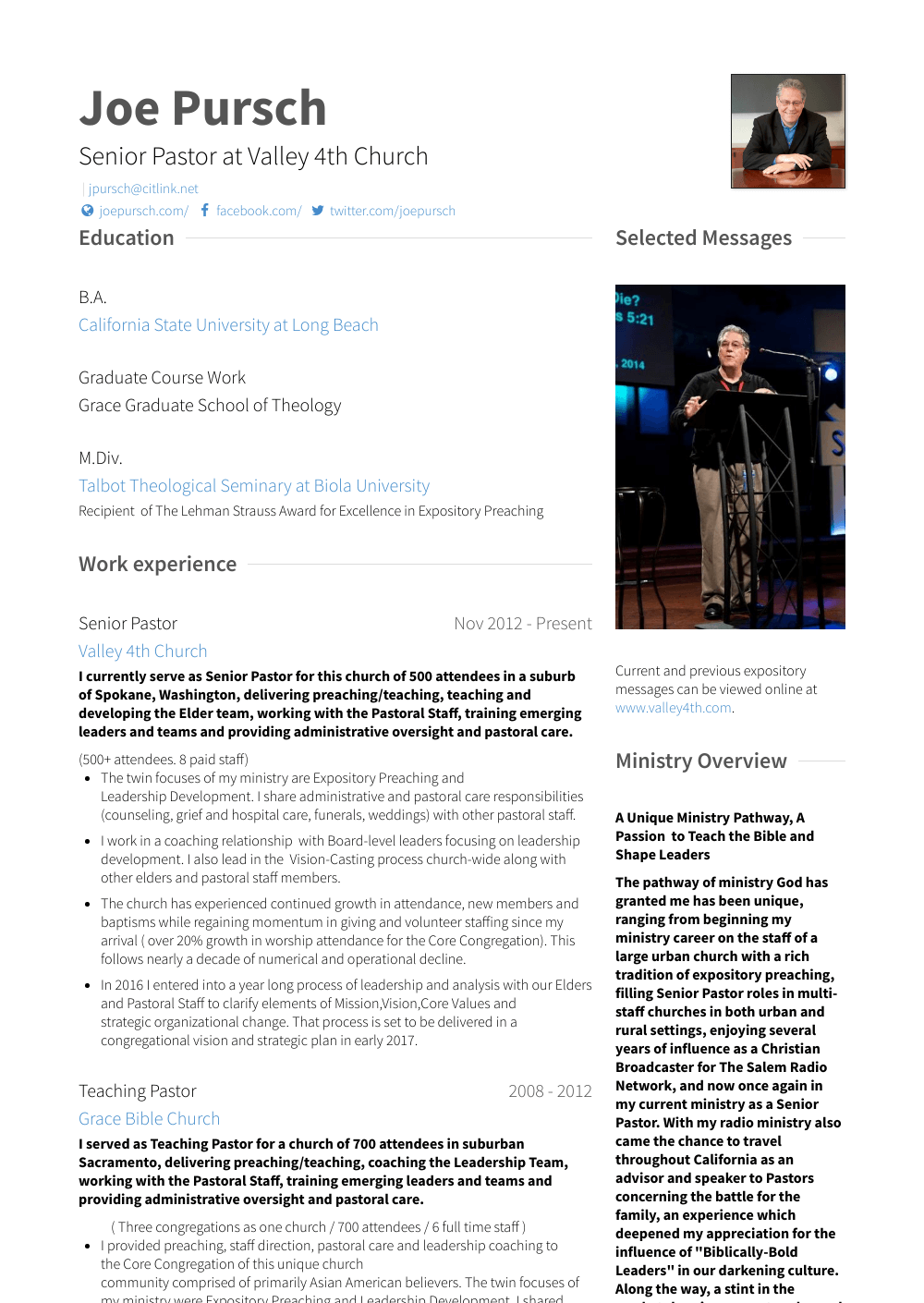 Senior Pastor Resume Sample