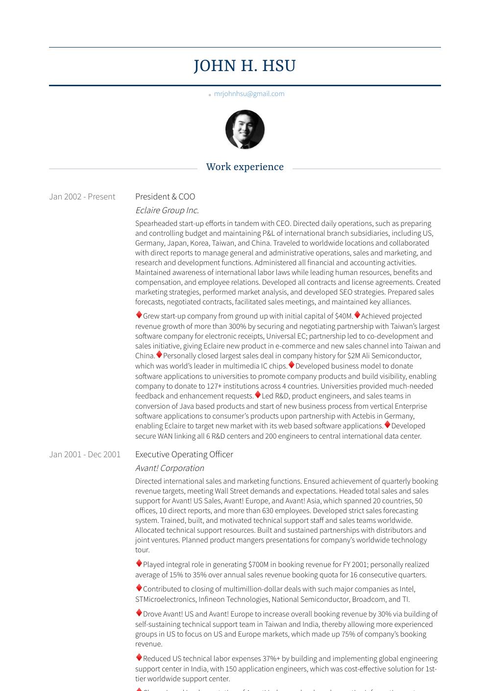 President & Coo Resume Sample