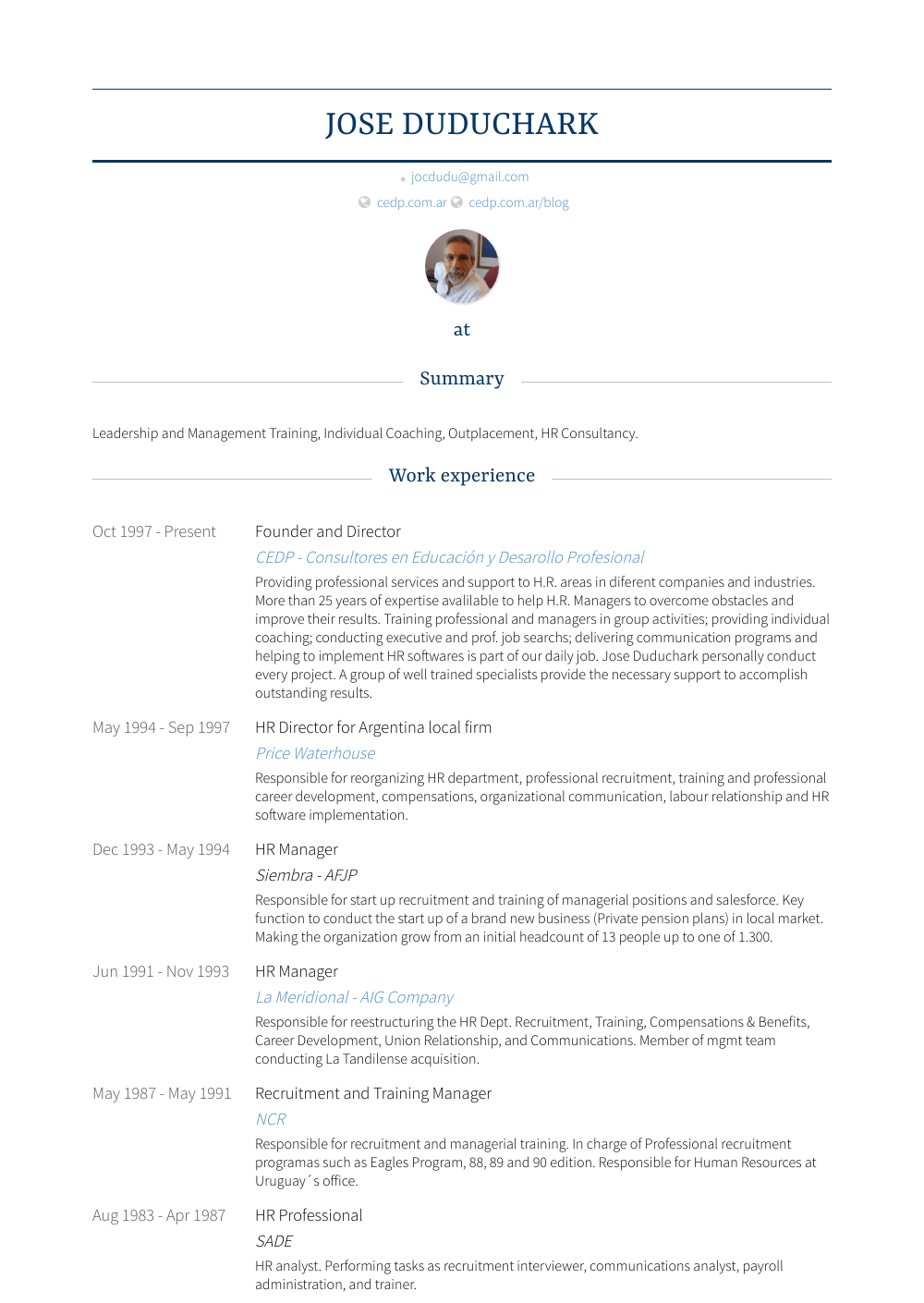 Founder And Director Resume Sample