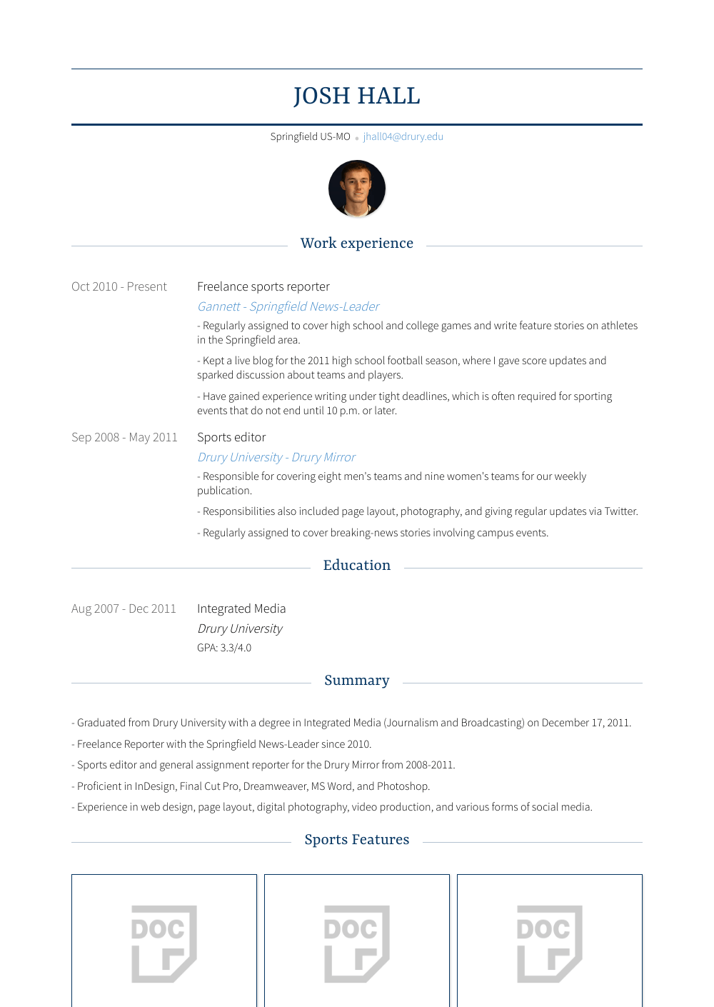 Freelance Sports Reporter Resume Sample