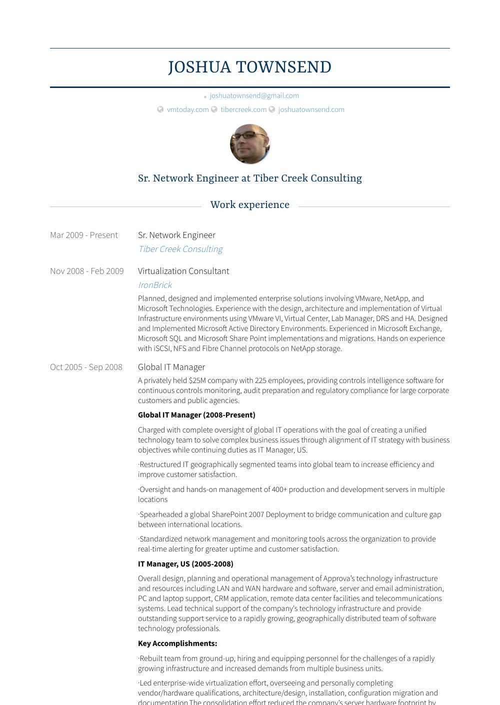 Sr. Network Engineer Resume Sample