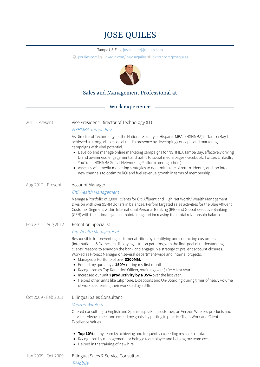 Director Of Technology Resume Sample