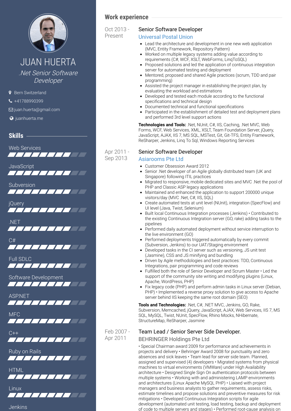 Senior Software Developer - Resume Samples & Templates | VisualCV