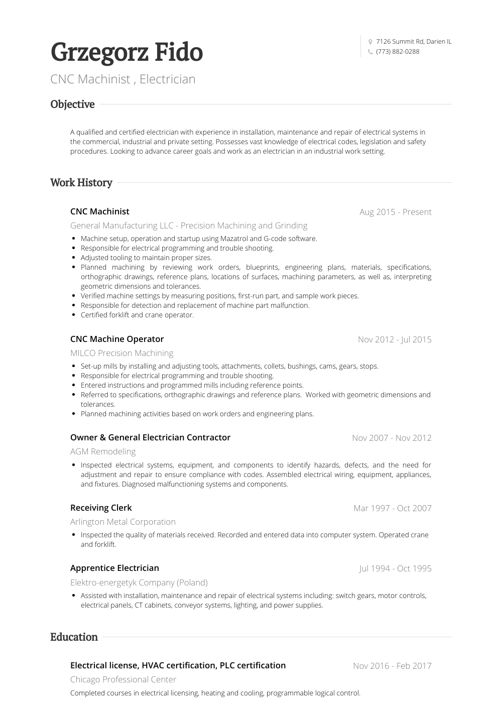 Cnc Machinist Resume Sample