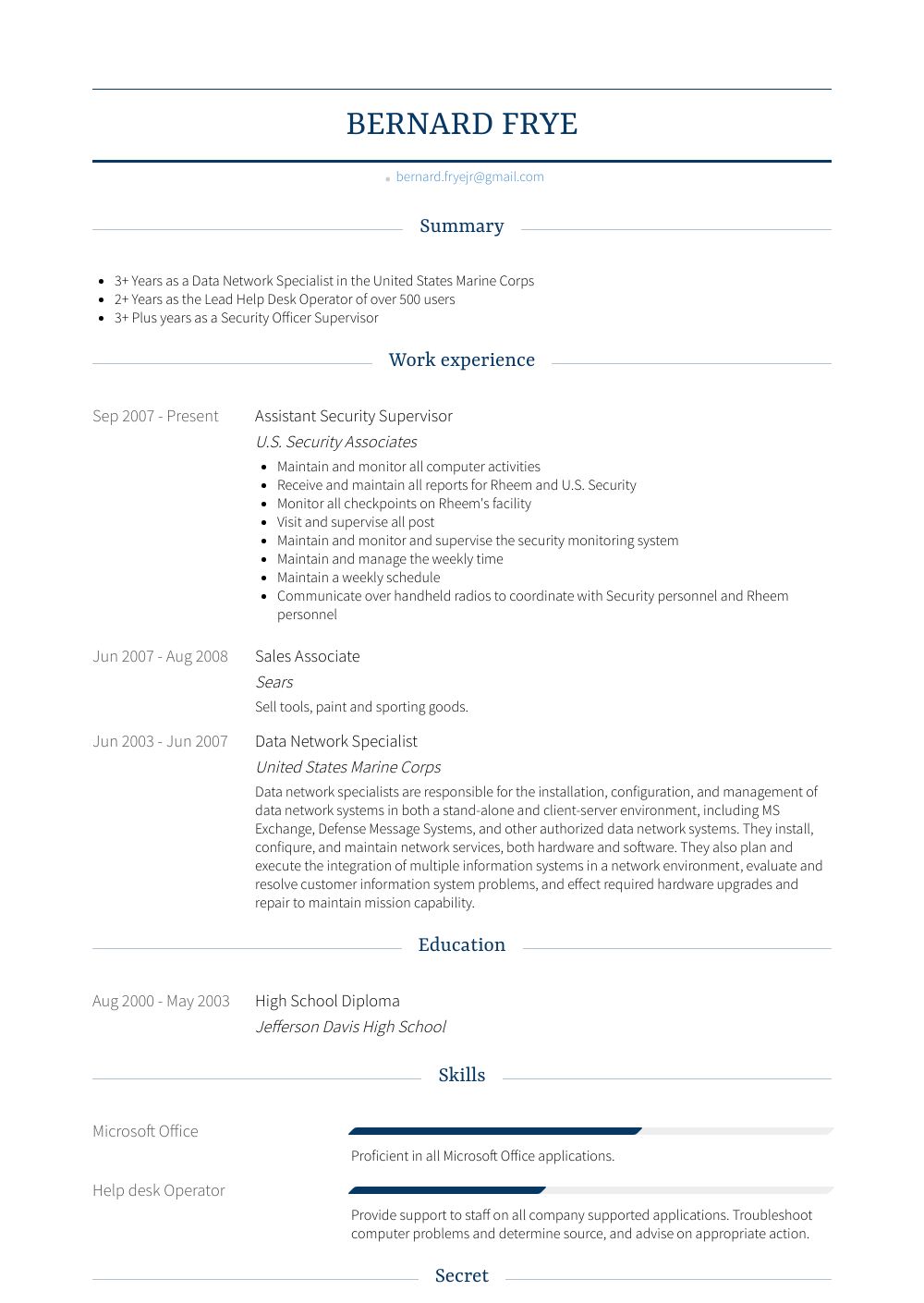 Assistant Security Supervisor Resume Sample