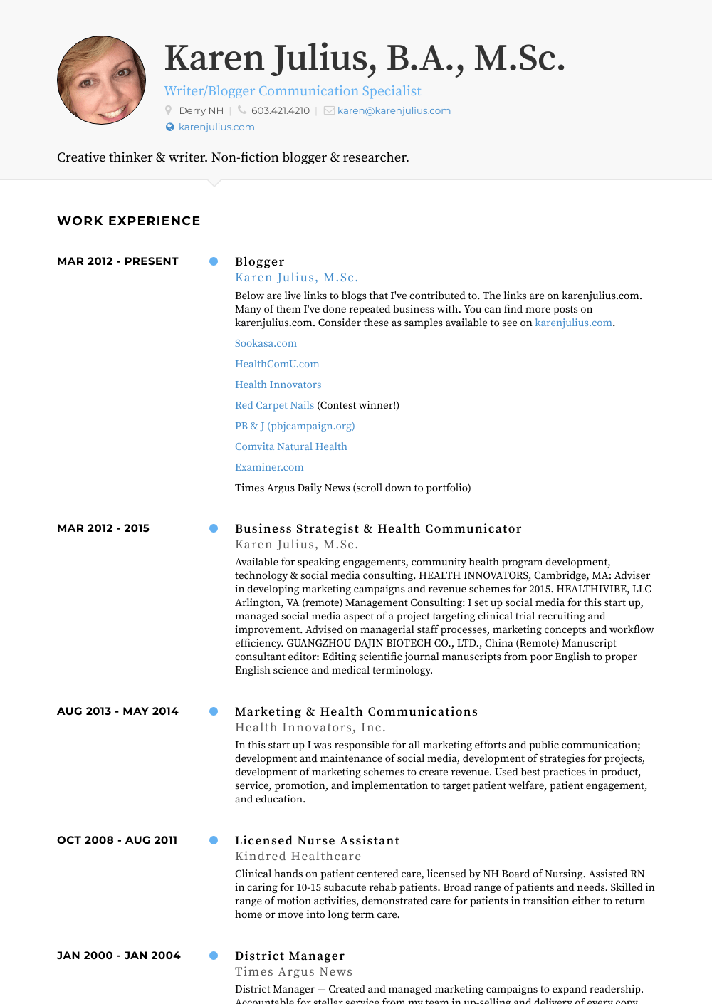 Blogger Resume Sample