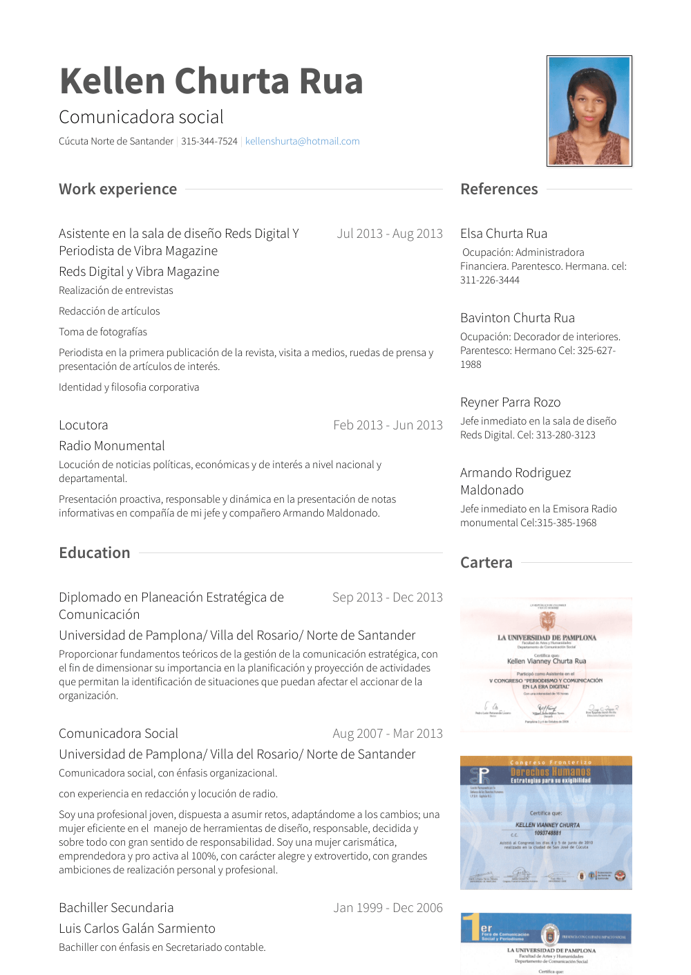 Periodista Resume Sample