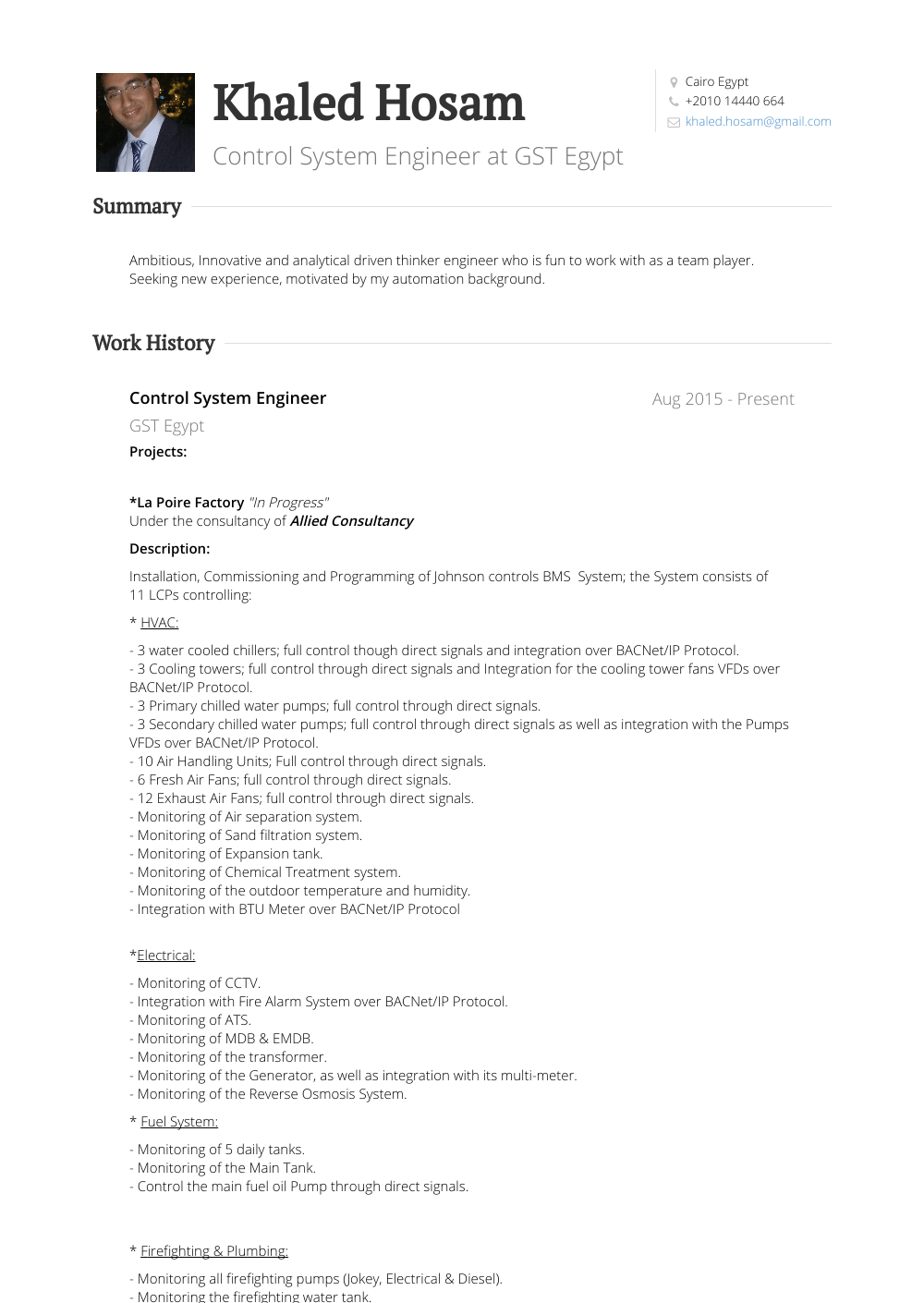 Executive Engineer Resume Sample