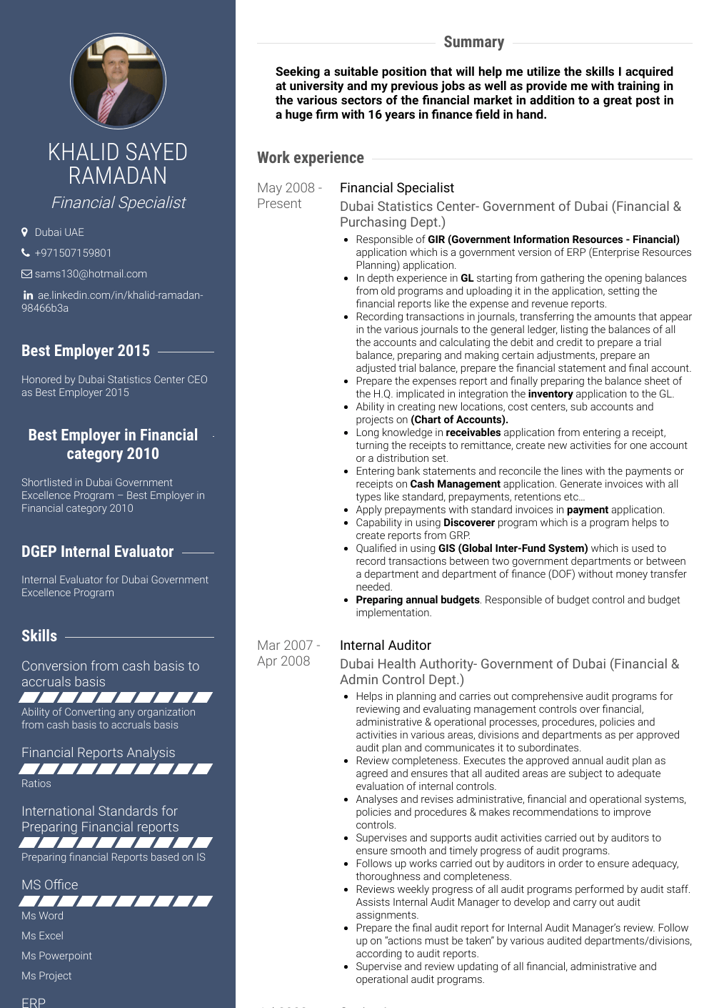 Financial Specialist Resume Sample