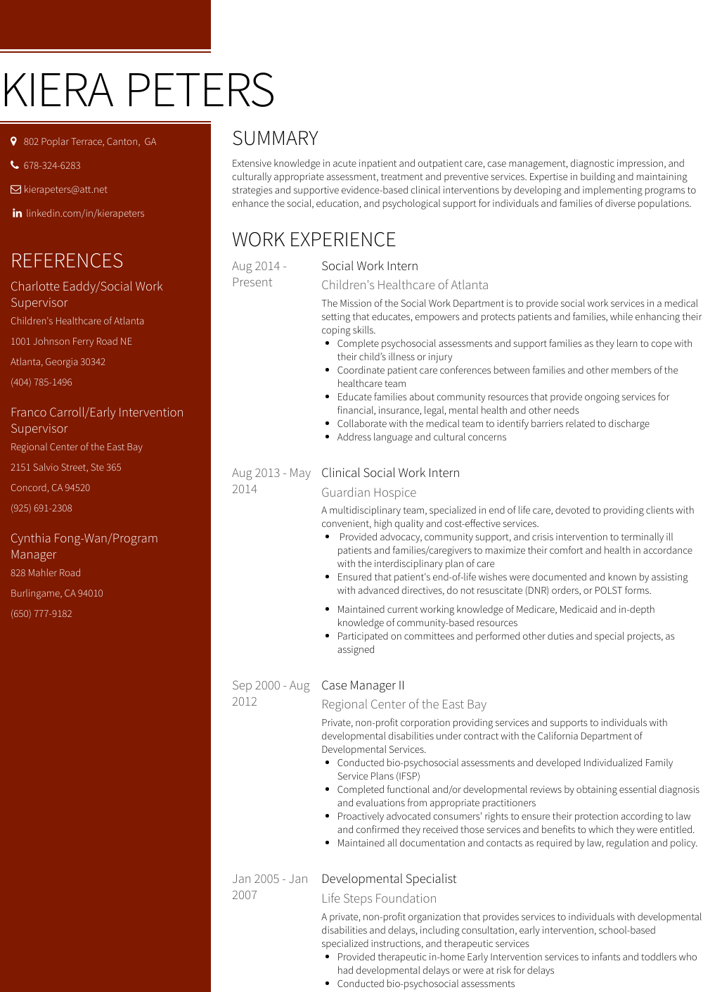 Social Work Intern Resume Sample