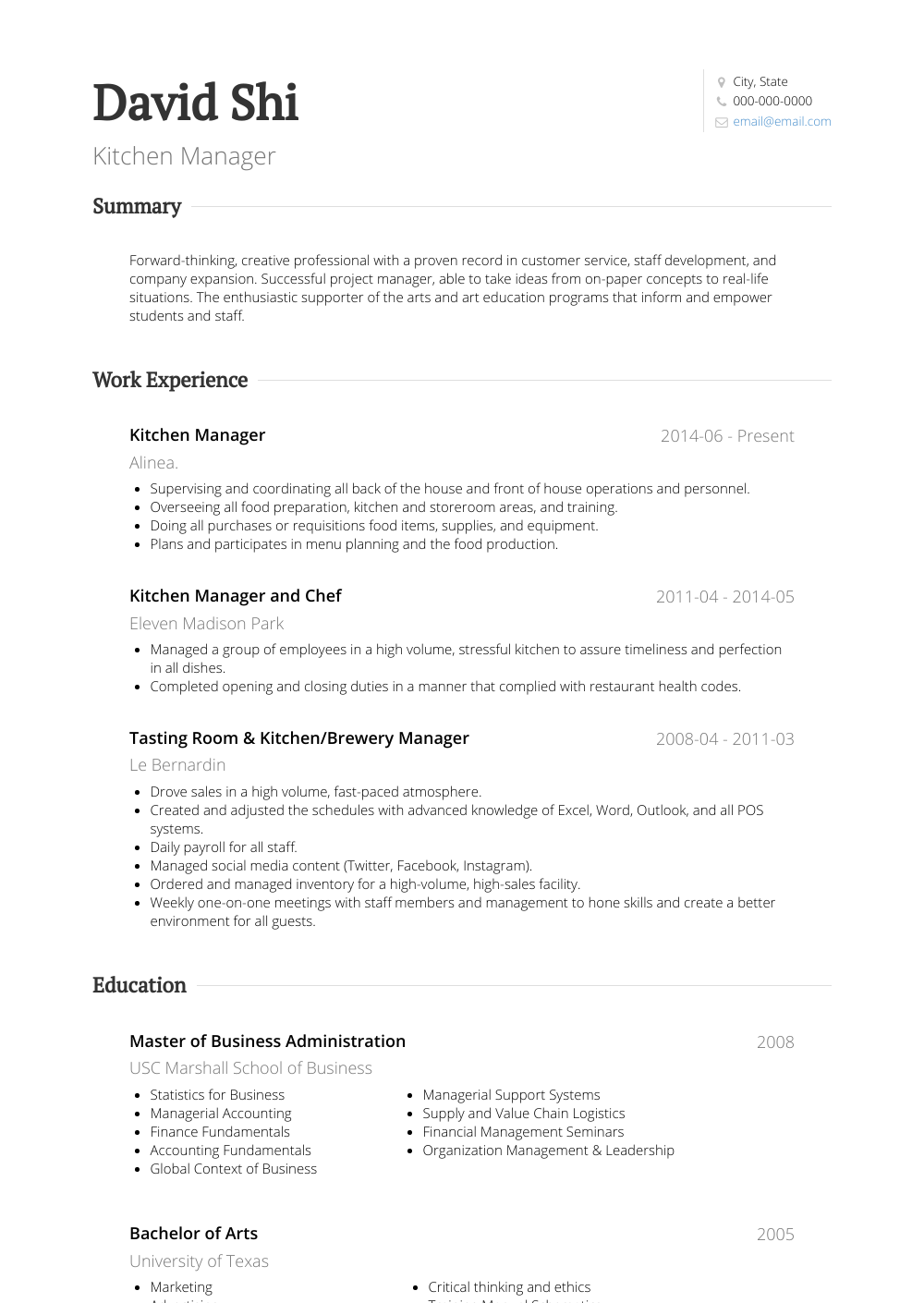 Kitchen Manager Job Description Resume