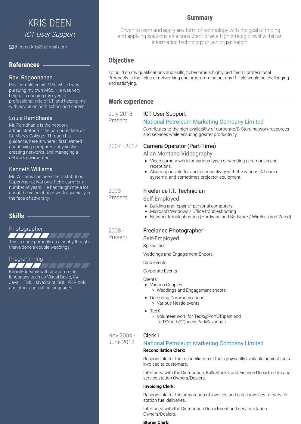 Clerk Resume Sample