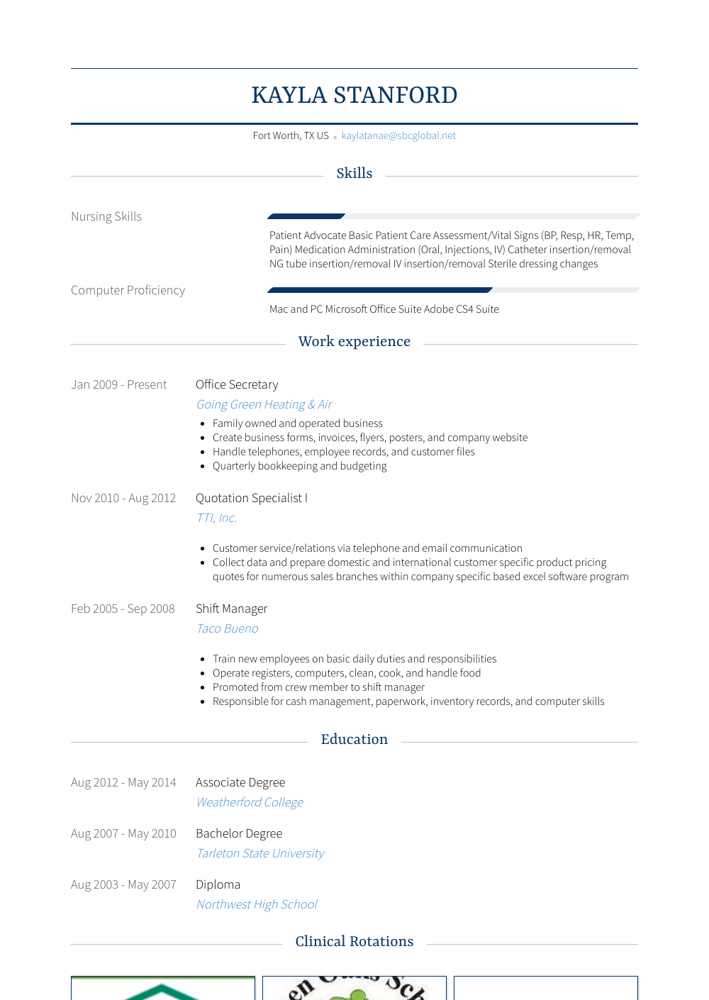 Office Secretary Resume Sample
