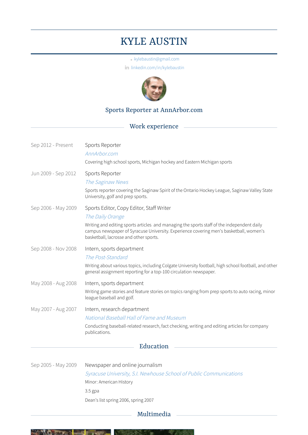 sports reporter  resume samples and templates  visualcv