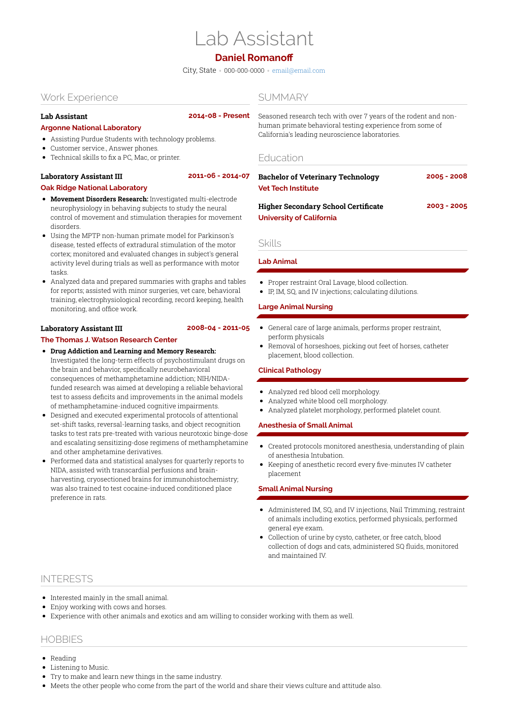 Lab Assistant Resume Sample and Template