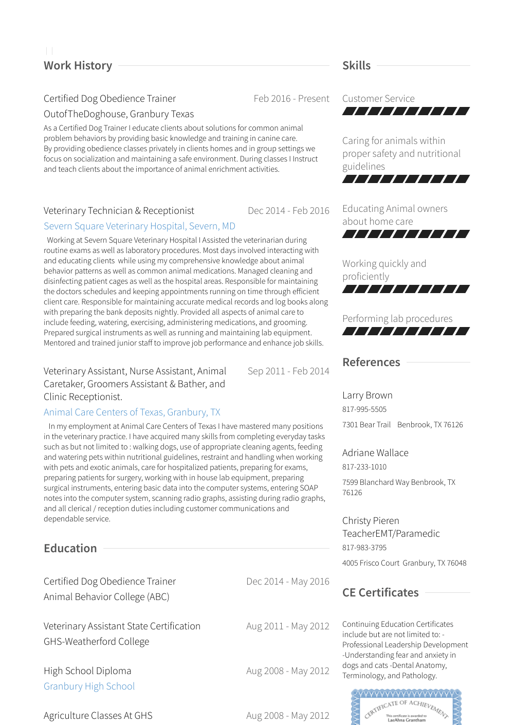 Veterinary Assistant Resume Samples Amp Templates Visualcv