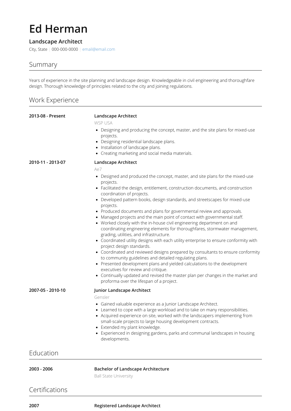 Landscape Architect Resume Sample and Template