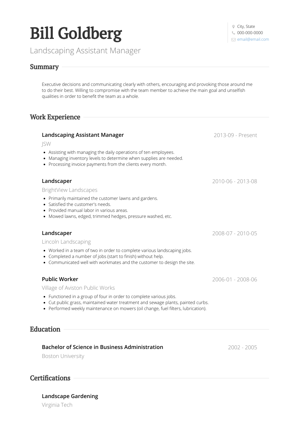 Landscaping Assistant Manager Resume Sample and Template