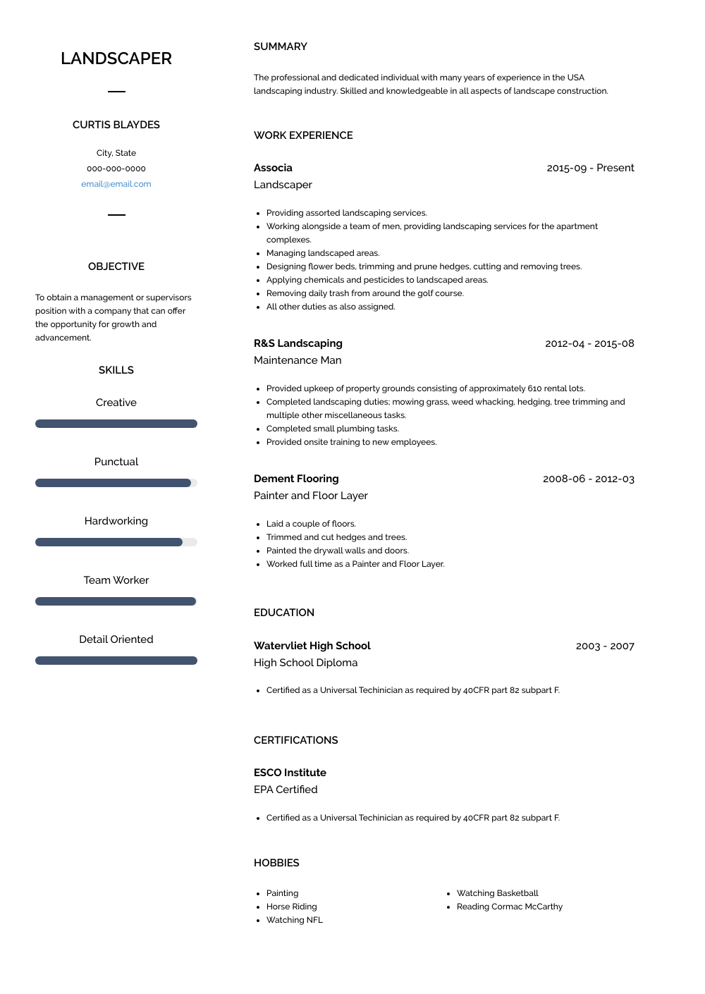 Landscaper Resume Sample and Template