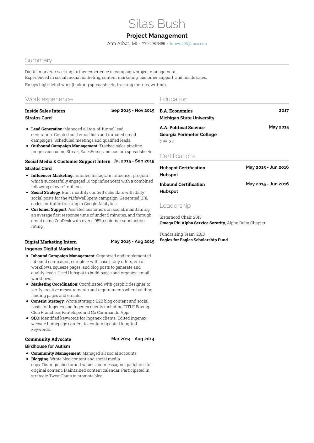 inside sales resume sample