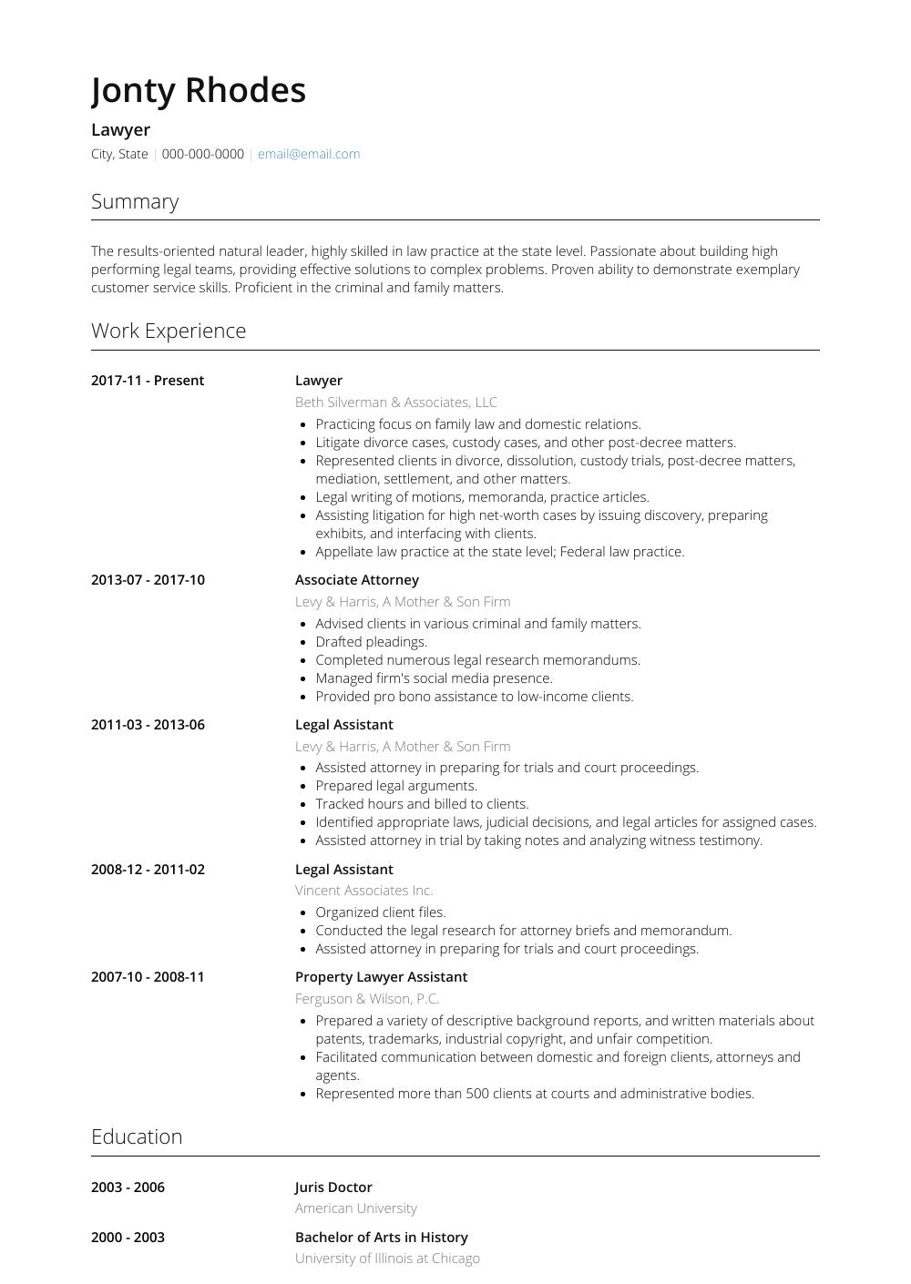 Attorney Resume Samples Templates Visualcv