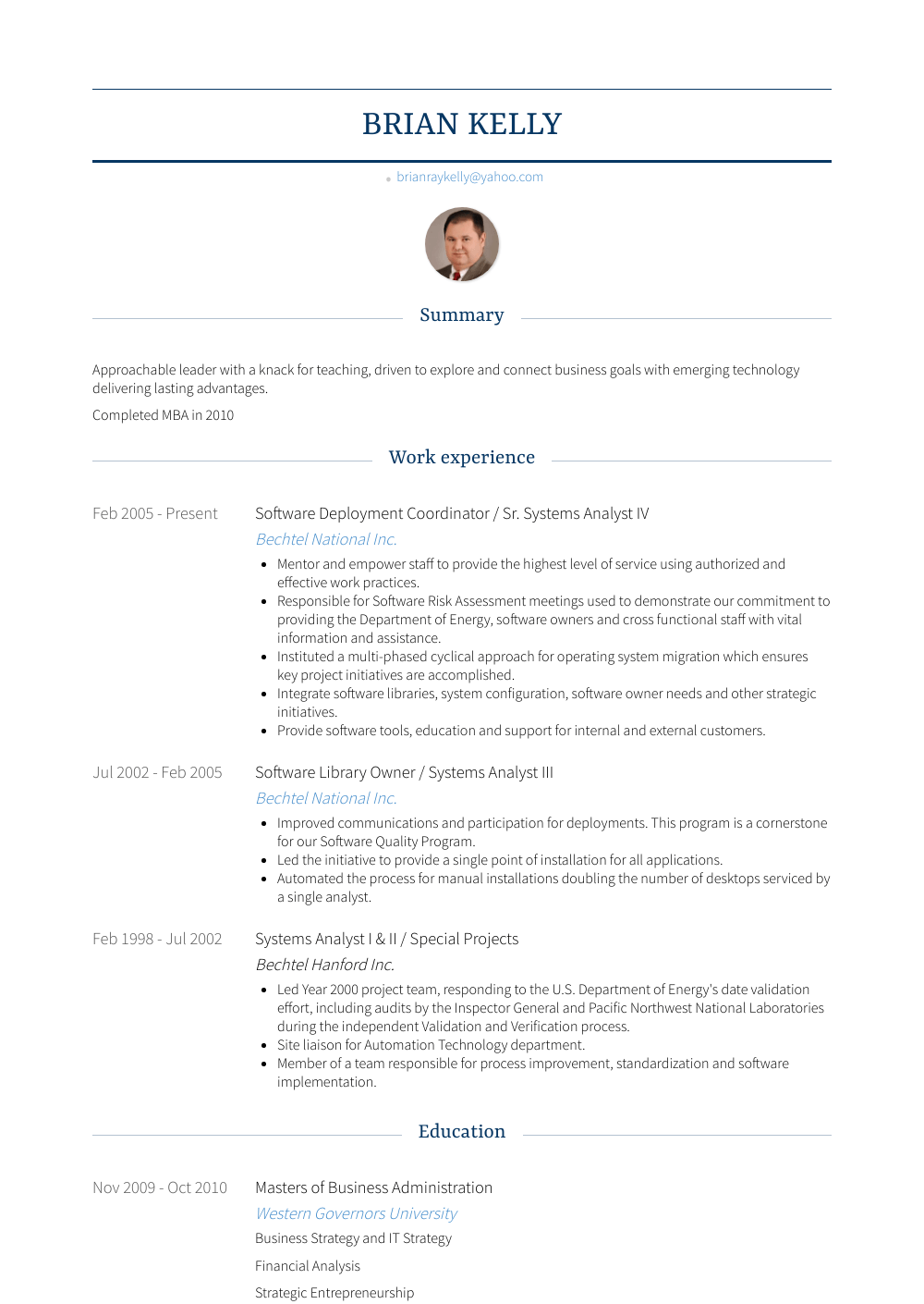 Software Deployment Coordinator / Sr. Systems Analyst Iv Resume Sample and Template