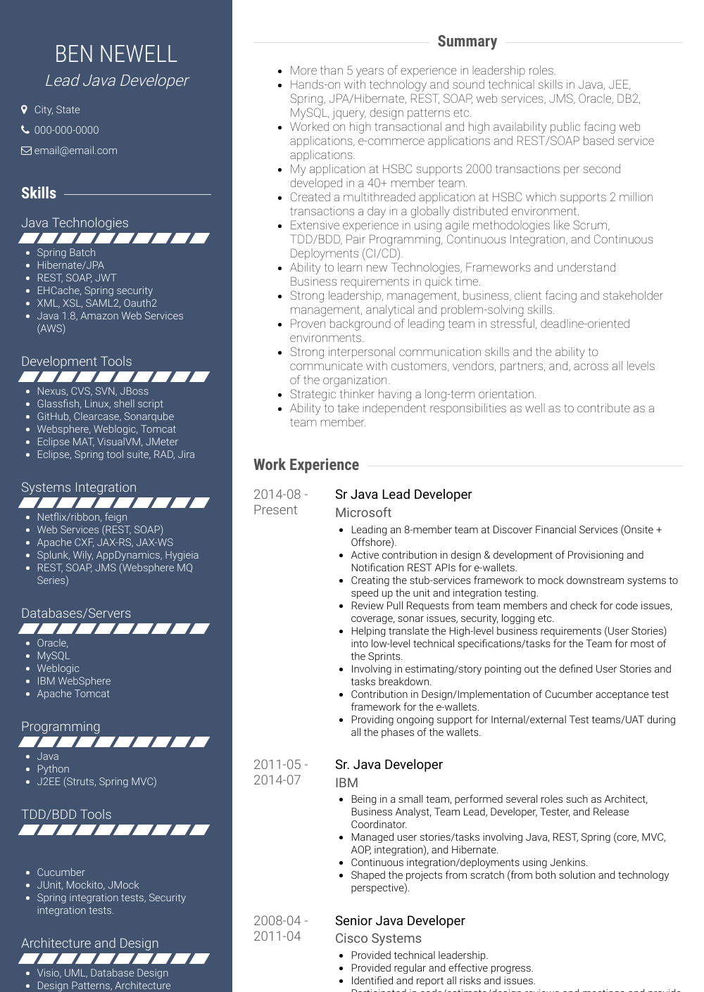 Lead Developer - Resume Samples & Templates | VisualCV