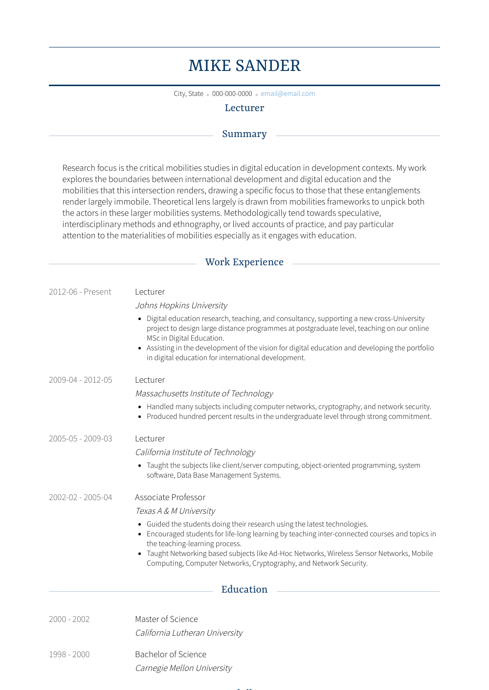 Lecturer Resume Sample and Template