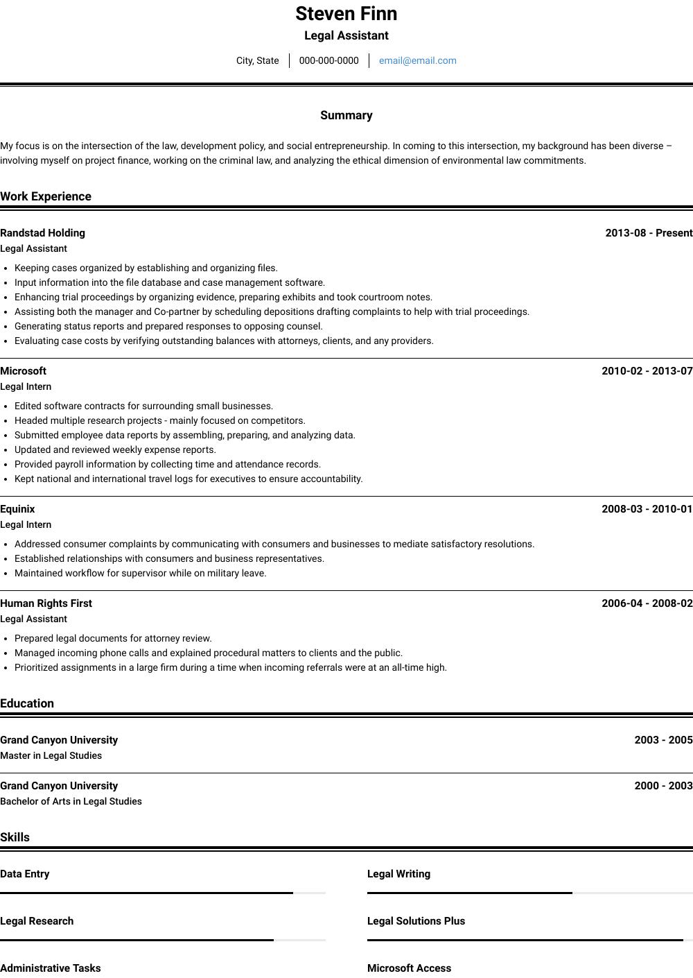Legal Intern - Resume Samples & Templates | VisualCV