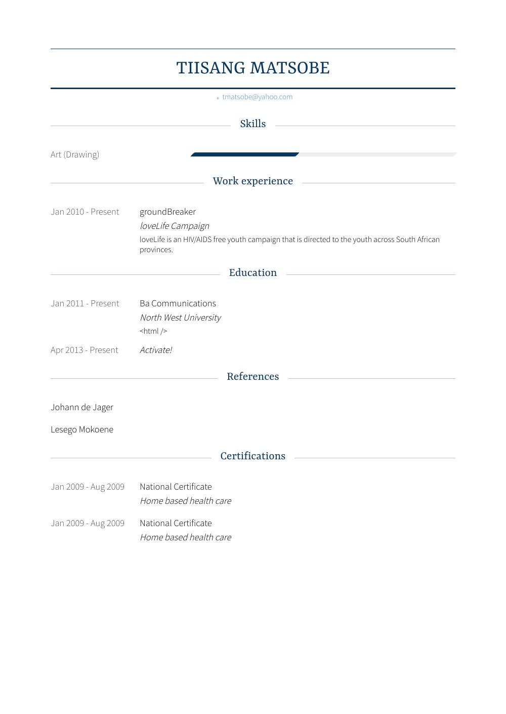 Groundbreaker Resume Sample