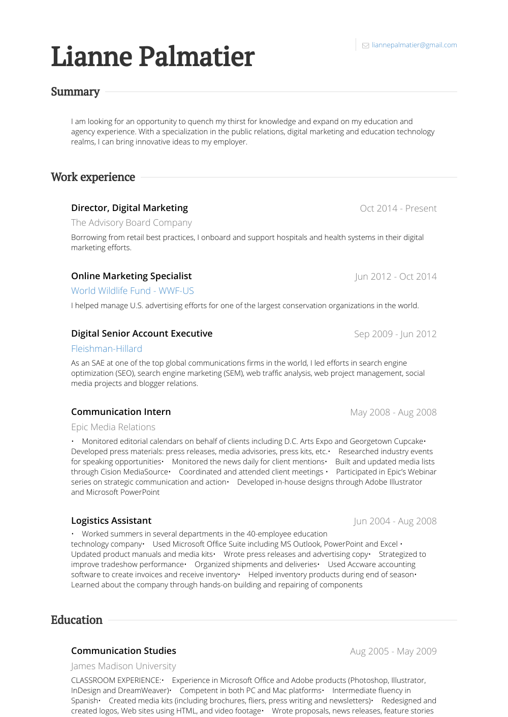 Online Marketing Specialist Resume Samples Templates Visualcv