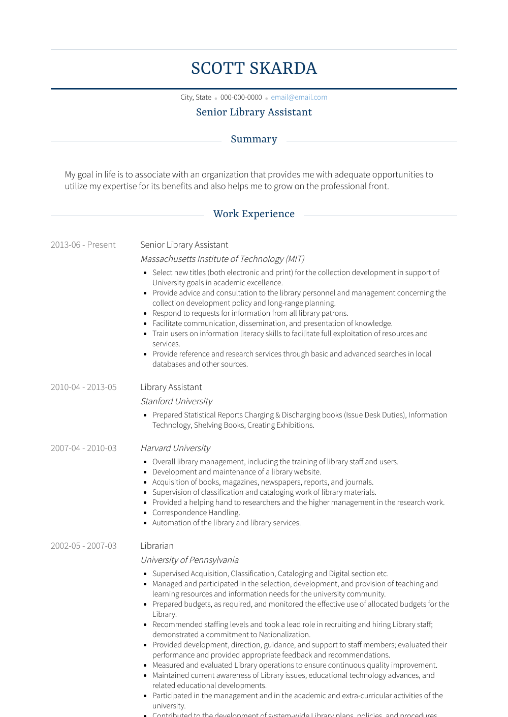 Library Assistant Resume Samples Templates Visualcv