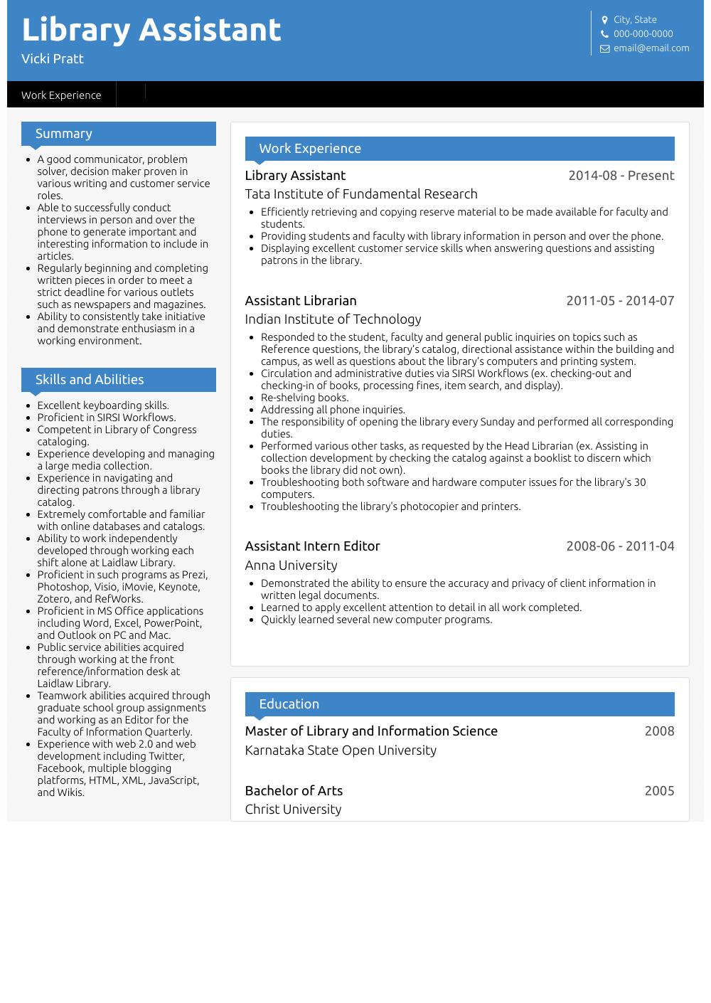 Library Assistant Resume Sample and Template