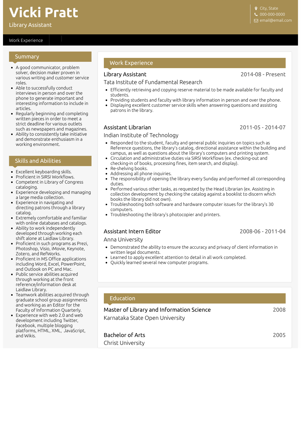 Library Assistant Resume Sample