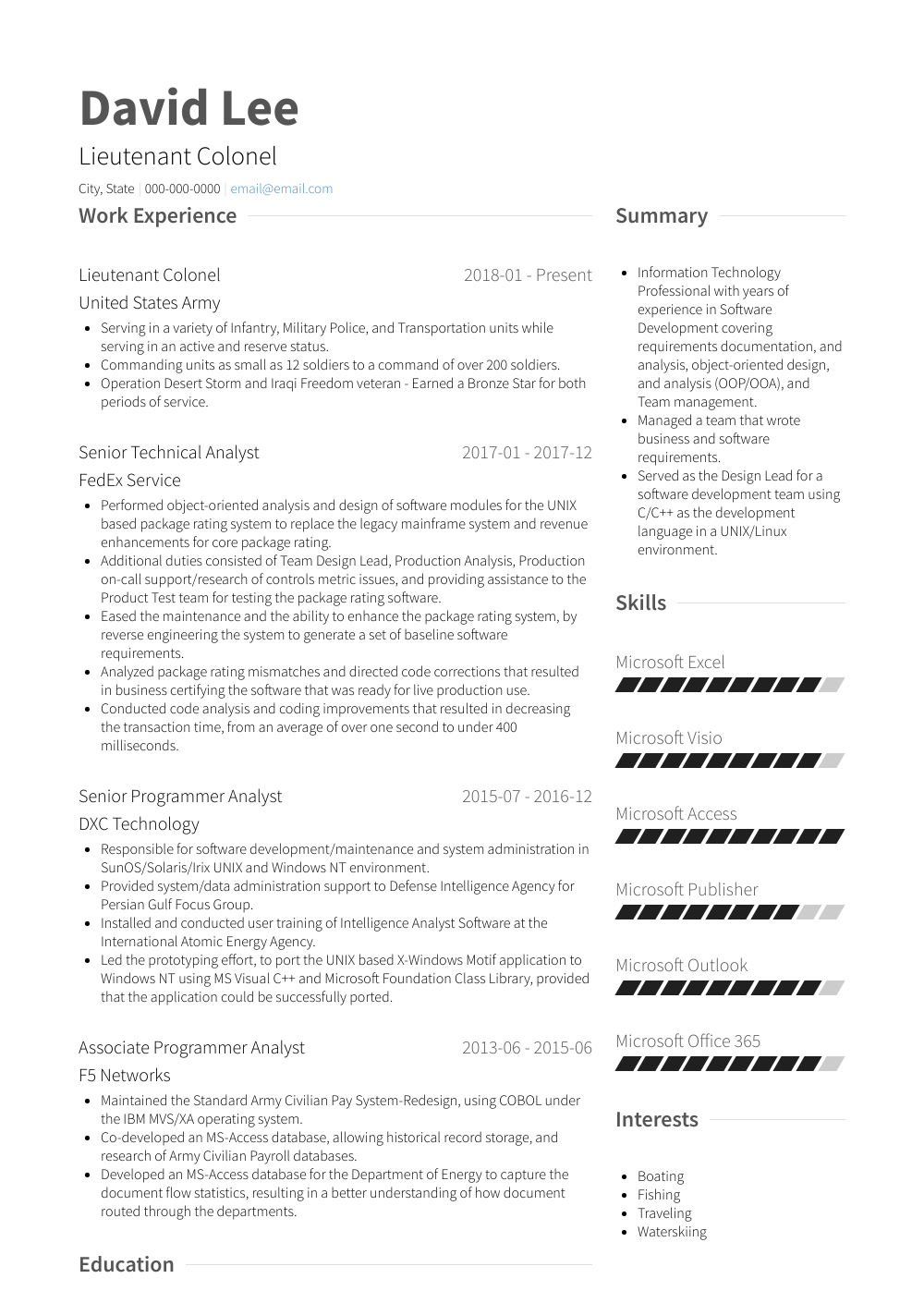 Lieutenant Resume Sample