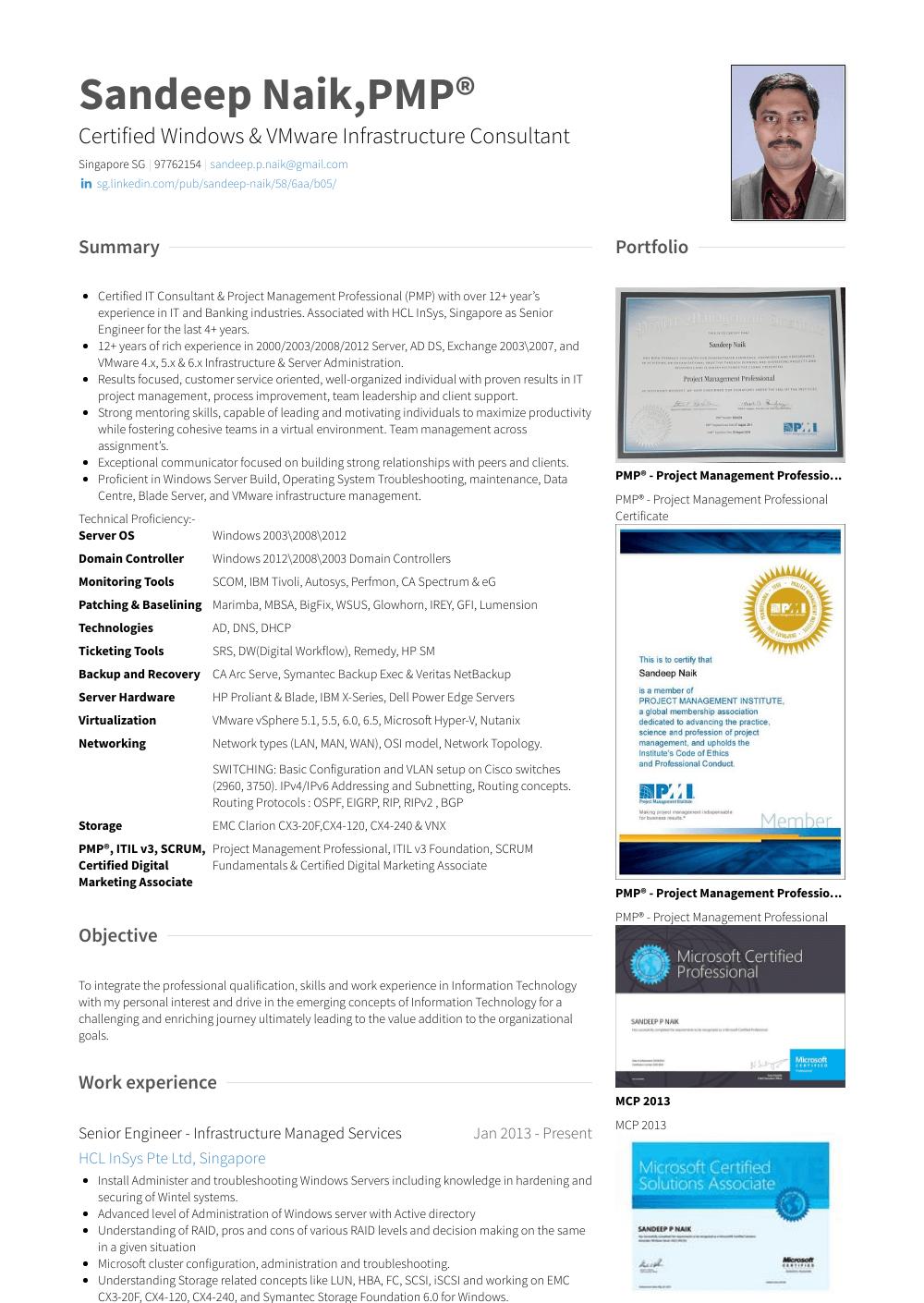 Senior Engineer Resume Sample