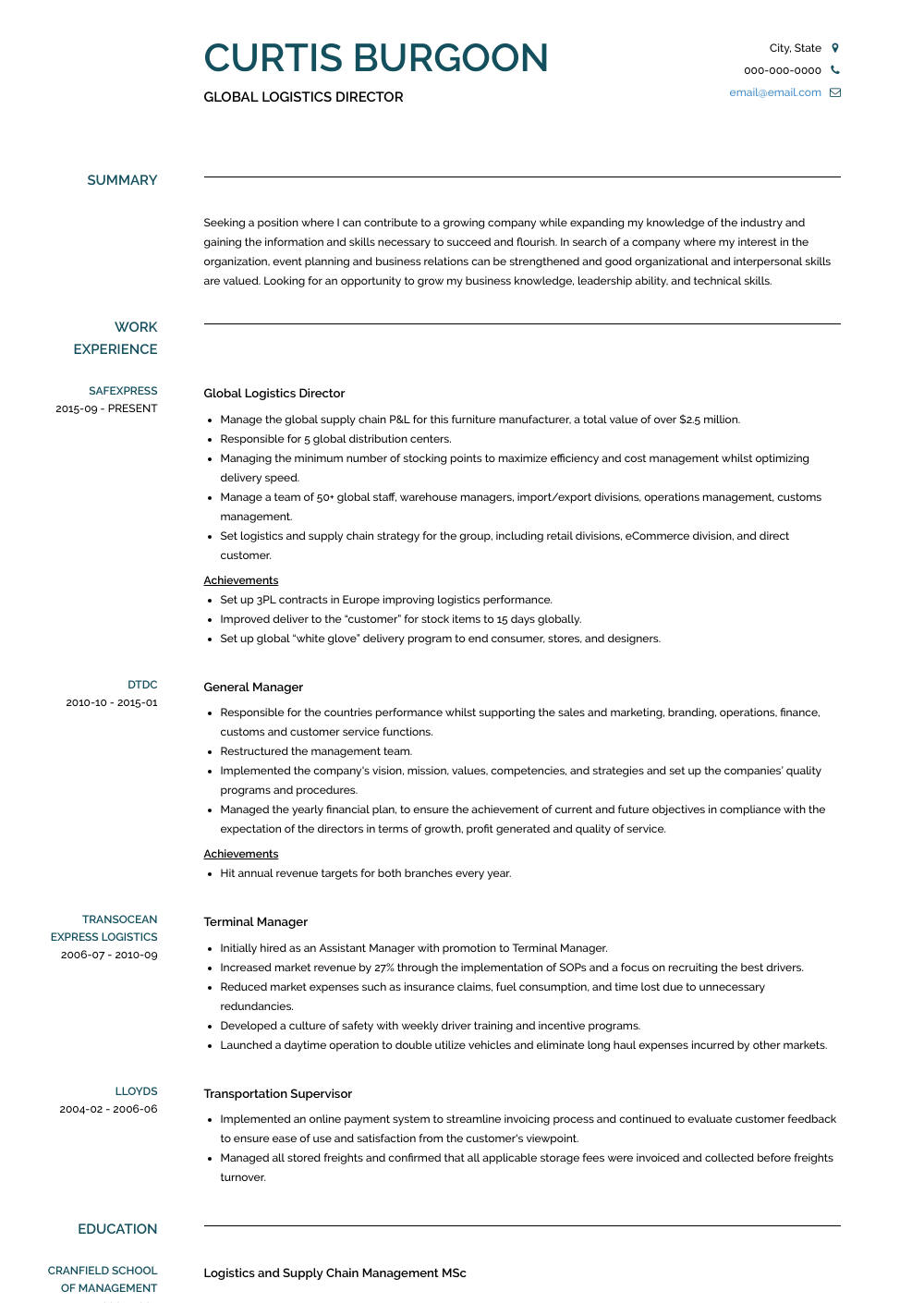 top-rated logistic manager cv template