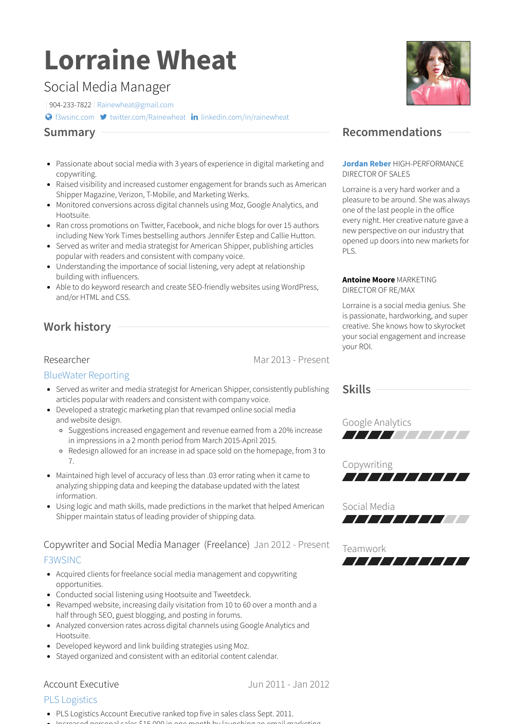 Social Media Manager Resume Samples Amp Templates Visualcv
