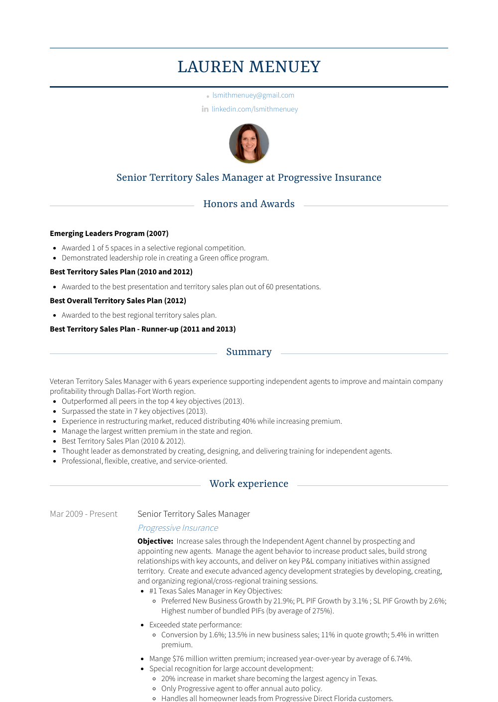 Territory Sales Manager - Resume Samples & Templates | VisualCV