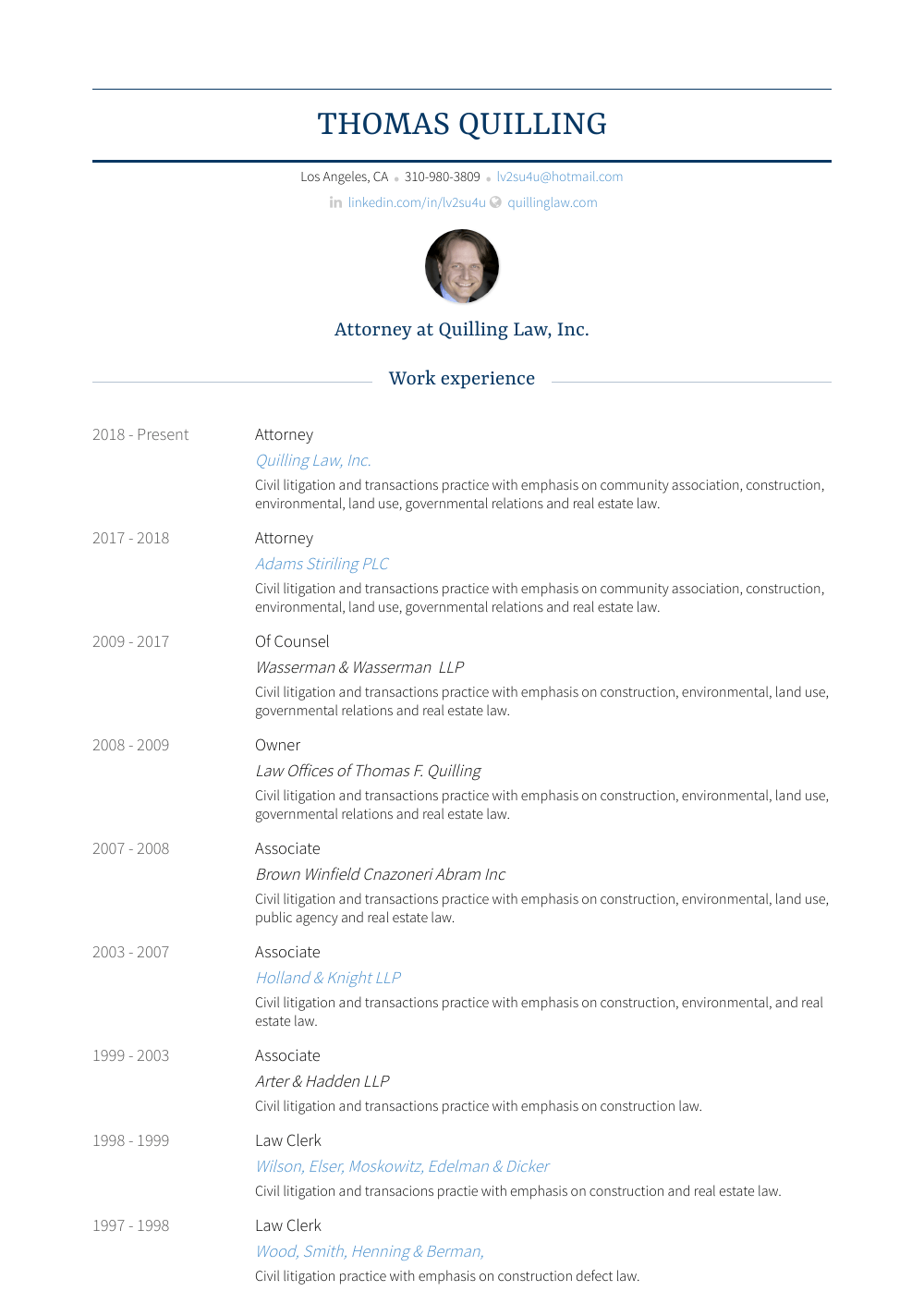 Of Counsel Resume Sample