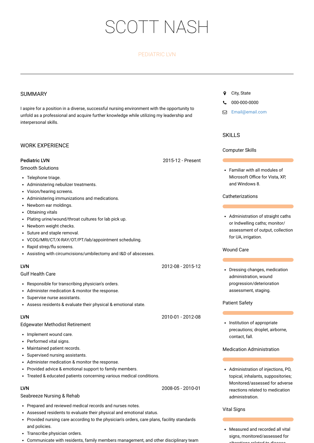 Pediatric Lvn Resume Sample and Template