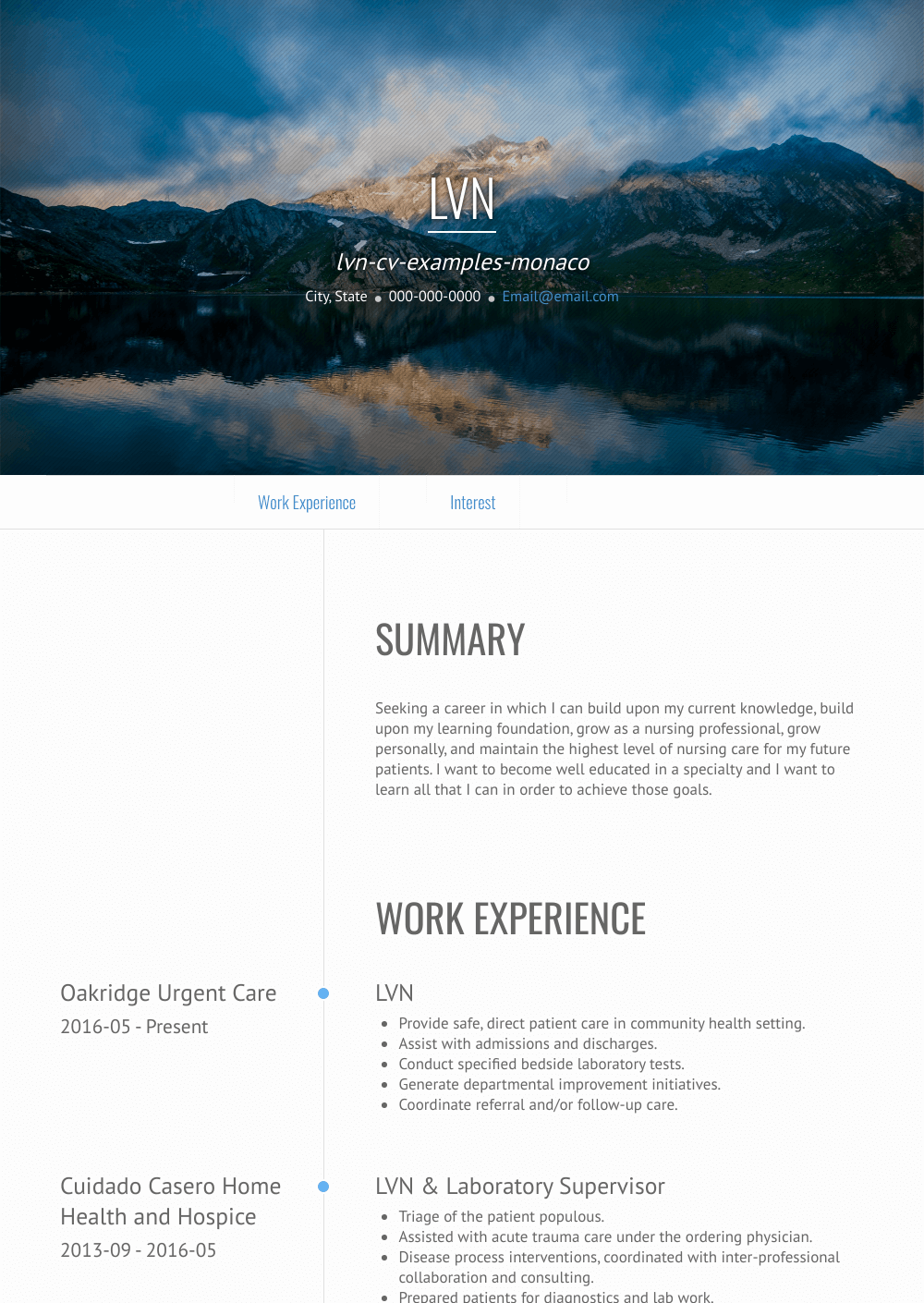 Lvn Resume Samples And Templates Visualcv