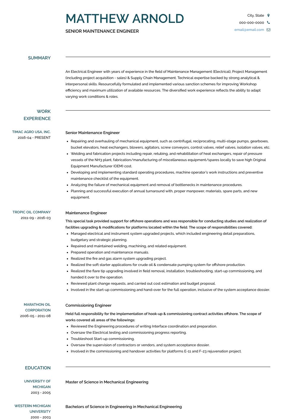 Maintenance Engineer - Resume Samples & Templates   VisualCV