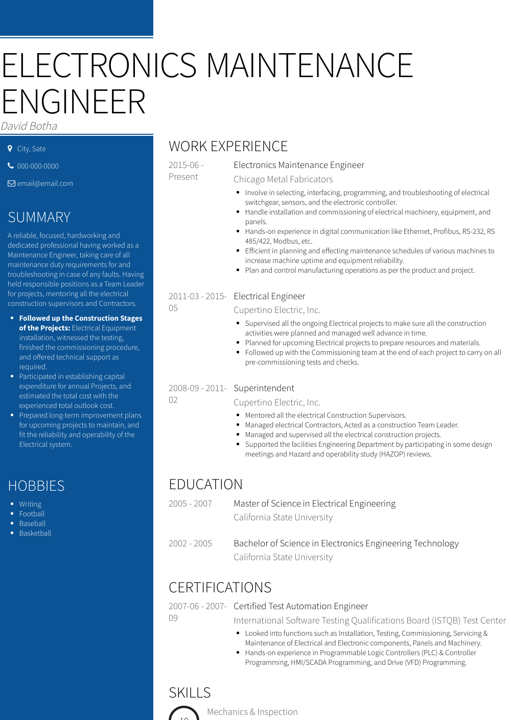 Electronics Maintenance Engineer Resume Sample