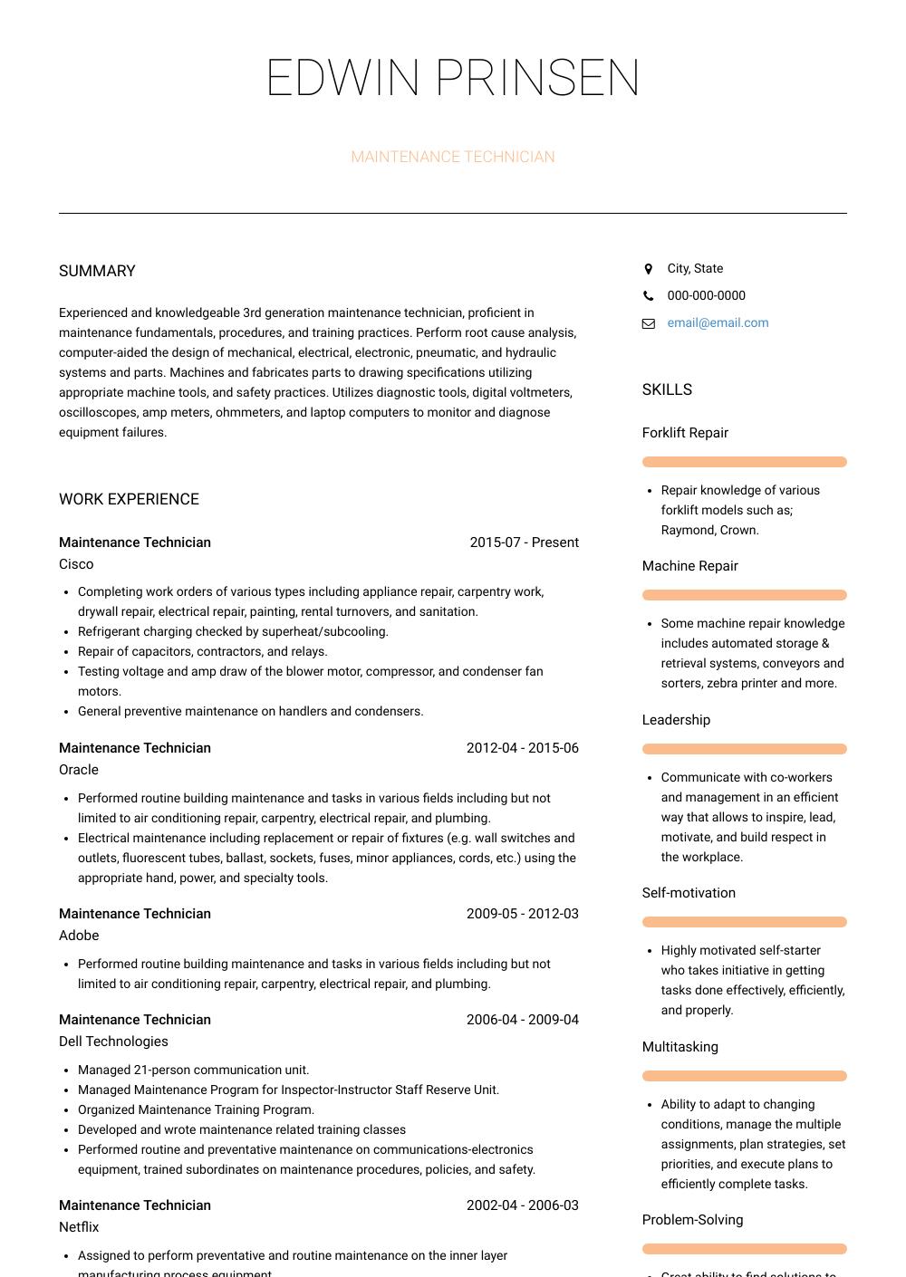 Maintenance Technician - Resume Samples & Templates | VisualCV
