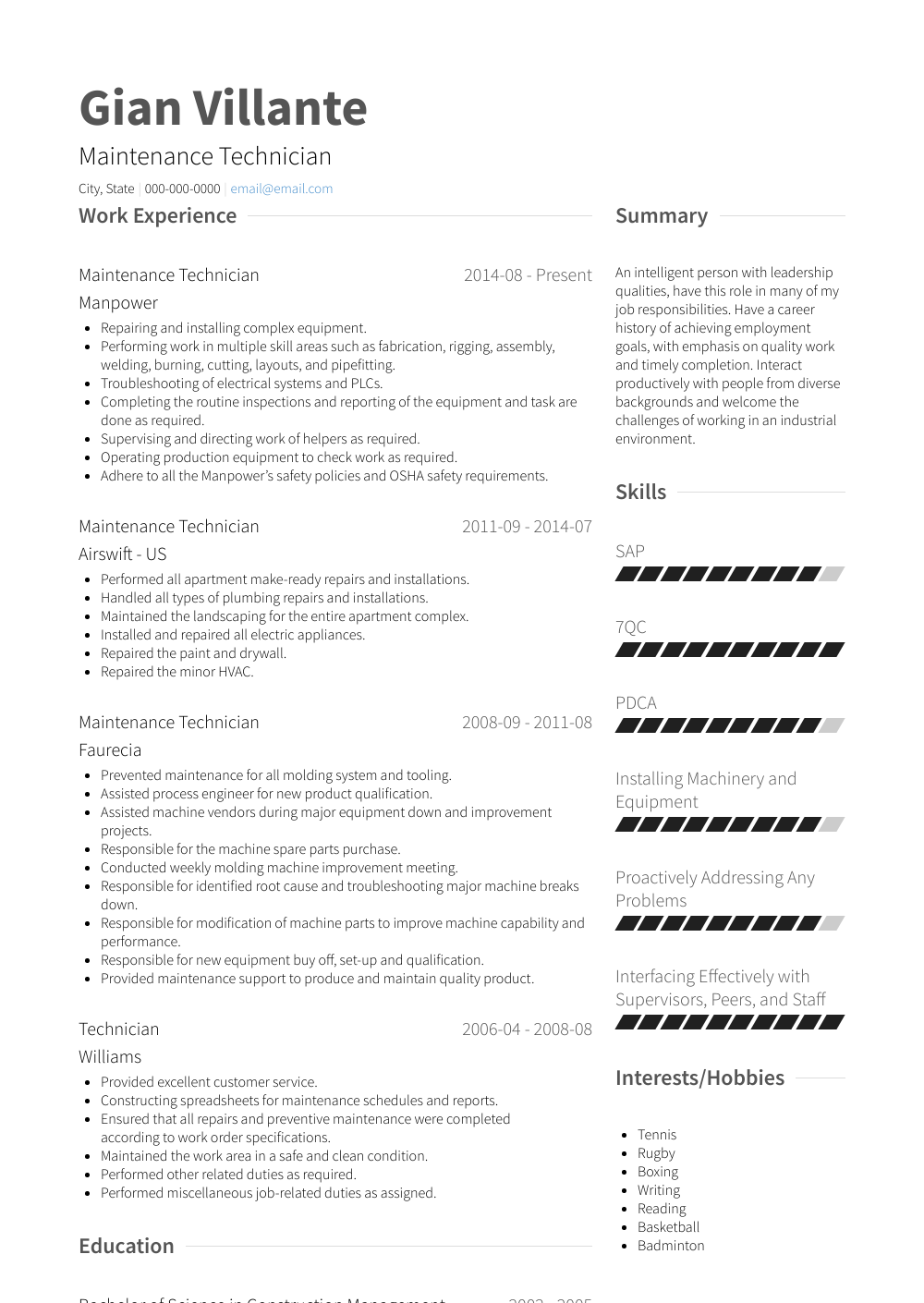 maintenance technician  resume samples and templates