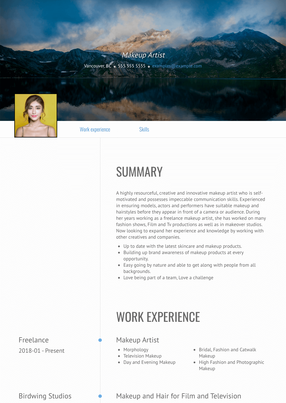 Makeup Artist Resume Samples And Templates Visualcv