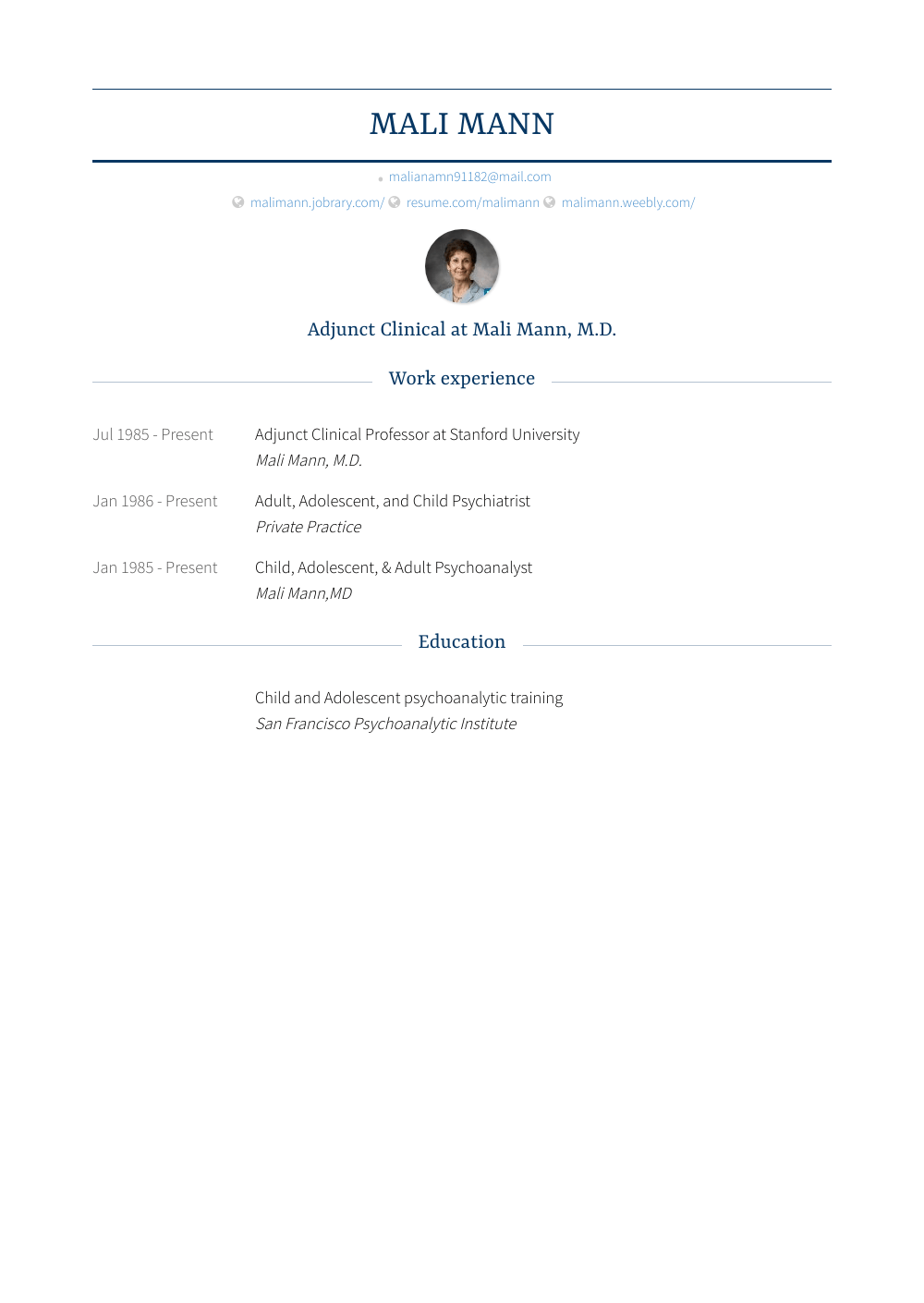 Stanford Resume Sample