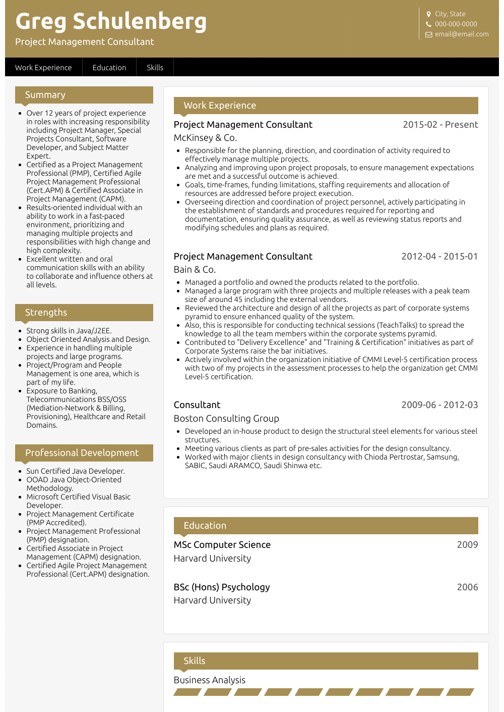 Management Consultant - Resume Samples & Templates | VisualCV